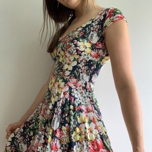 FLORAL COLORFUL A-LINE FLARE DRESS